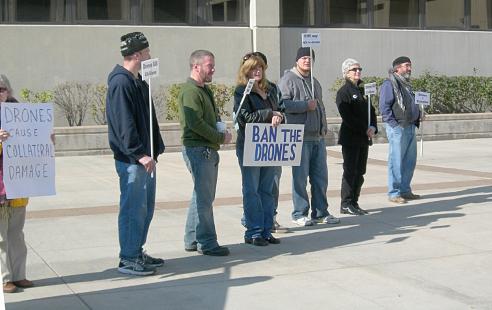 Protestors form a line