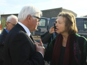 Activist Elsa Rassbach confronts German Foreign MInister Rassback about German support for US Drone Prrogram