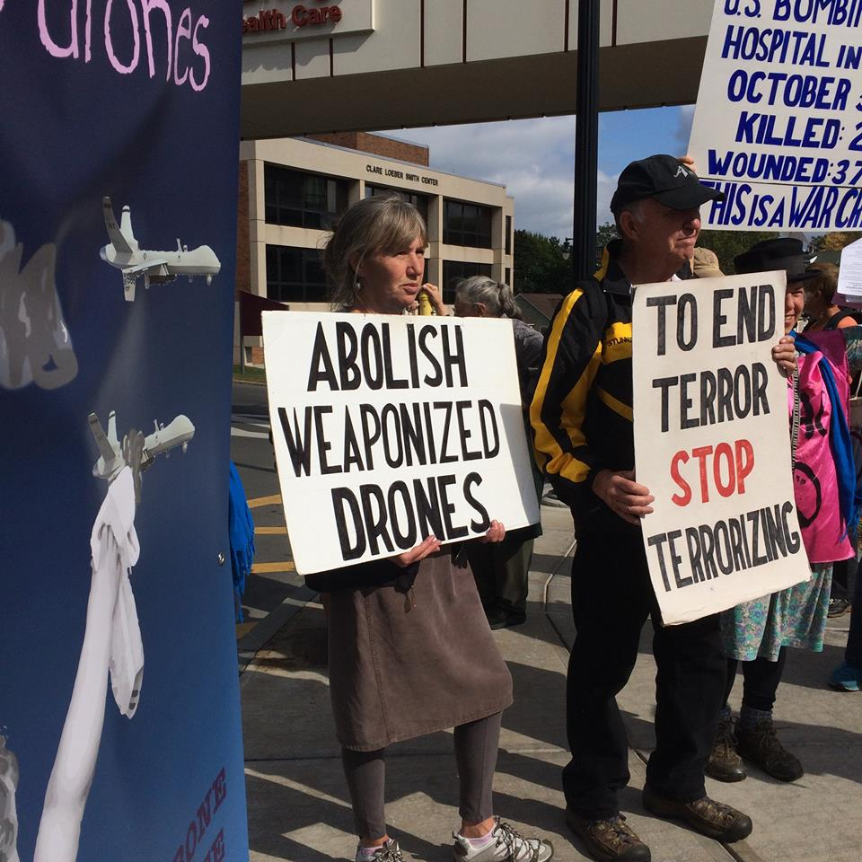 Drone protesters noted by Minnie Bruce Pratt